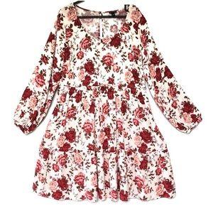 torrid floral challis long sleeve boho dress roses